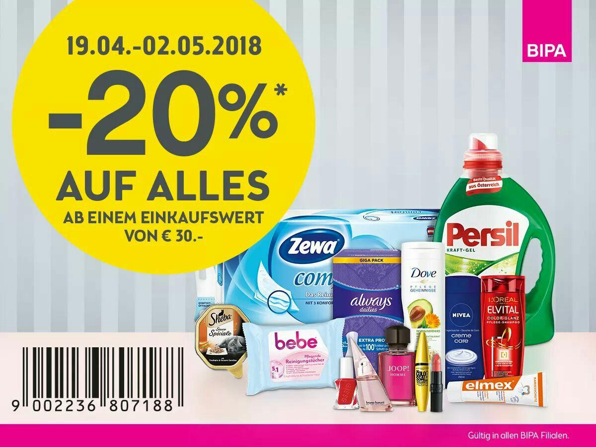 -20% ab € 30 Einkaufswert in den Bipa-Filialen