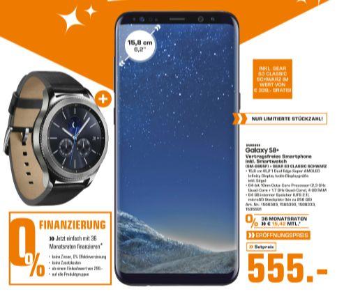 [Regional Saturn Innsbruck-Ab 26.04] Samsung Galaxy S8+ Smartphone 12 MP 64 GB 15,7 cm LTE Bluetooth + Samsung Gear S3 Classic, Smartwatch silber um 555,-€