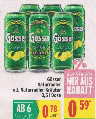 MERKUR Gösser Naturradler / Naturradler Kräuter 0,5l ab 6 Dosen 26.4. bis 2.5.