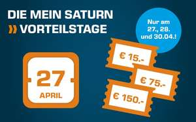 Mein Saturn Vorteilstage vom 27. bis zum 30. April mit bis zu 150€ Rabatt auf alles