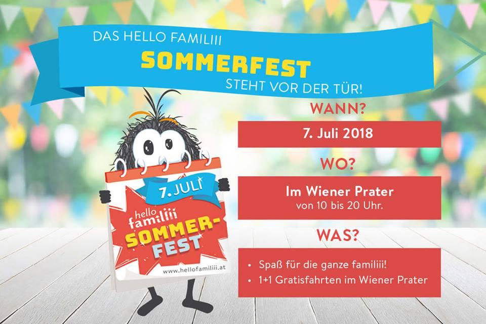 """""""hello familiii-Day 2018"""" im Wiener Prater - 1+1 Gratis bei Fahrgeschäften - 7.7.2018"""