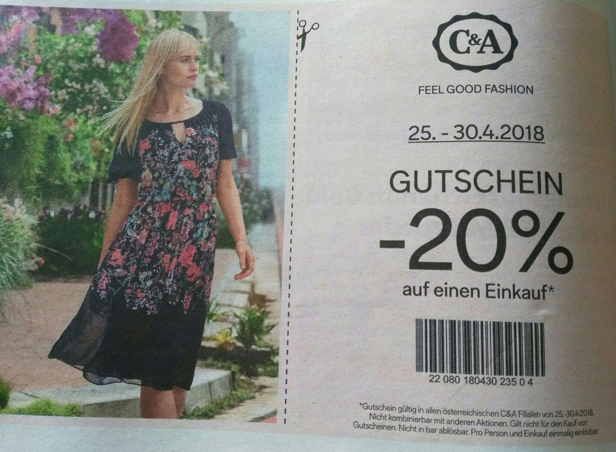 [C&A]: -20% auf einen Einkauf - nur noch morgen