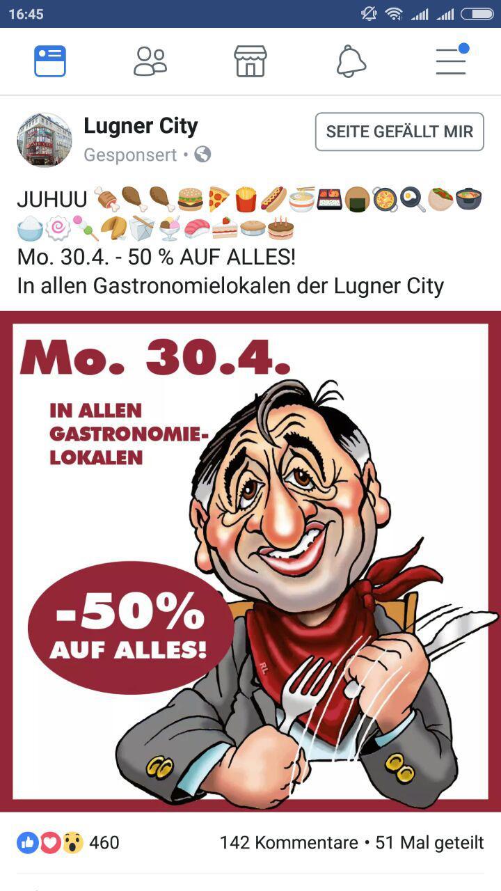 [Lugner City] -50% auf alles in allen Gastronomie-Lokalen - nur am Montag, 30.4.2018, gültig!