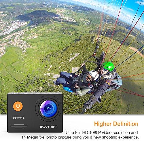 Action Cam Apeman A70 mit 2 1050mAh Akkus und Accessoires (14 MP, 1080P FULL HD, WiFi, 30 m wasserdicht)