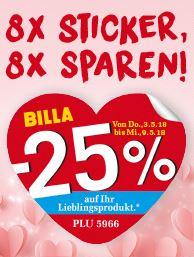 Billa 8x -25% Rabatt Aufkleber von 03.05. bis 09.05