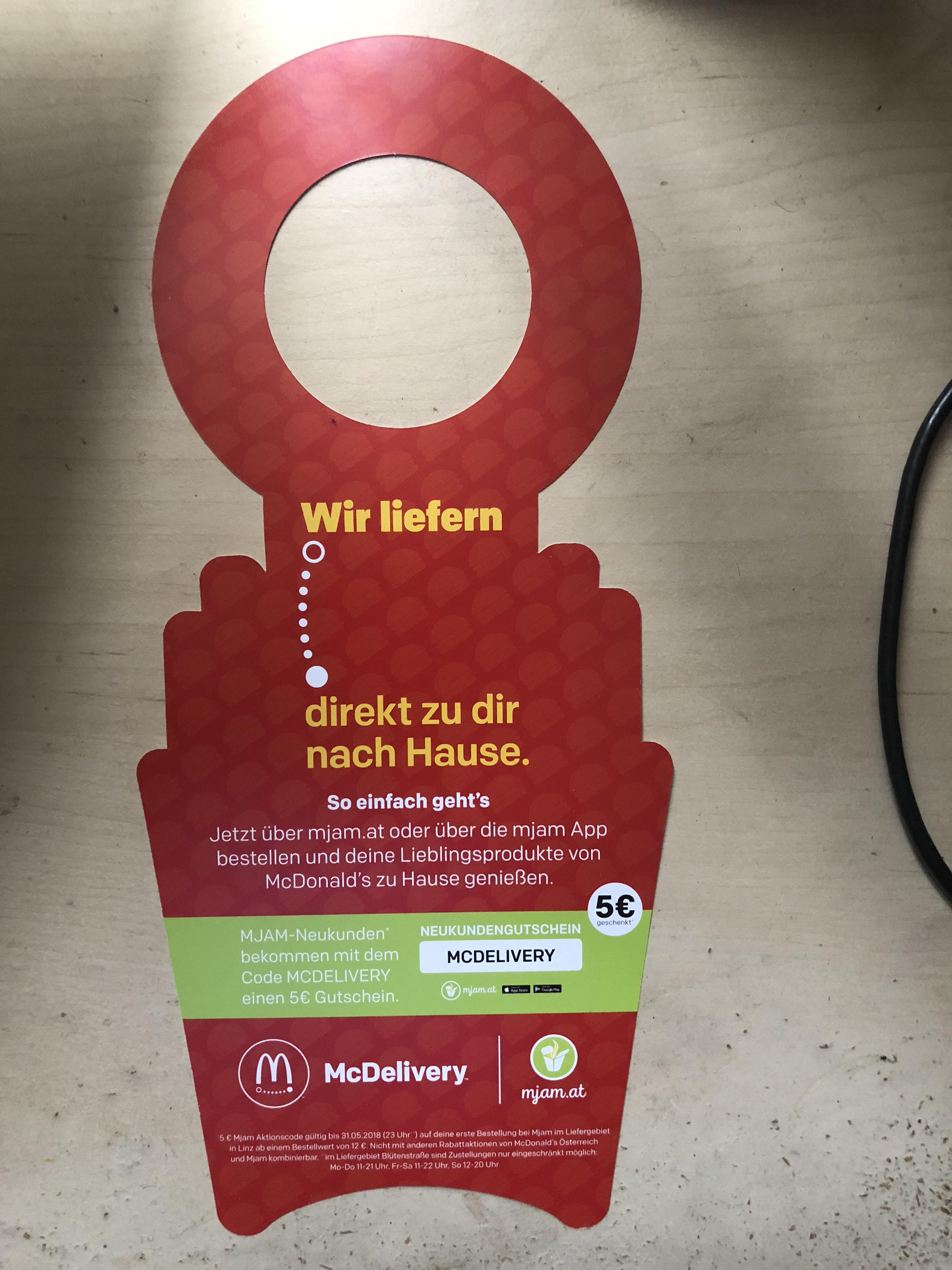 Mjam Neukunden Gutschein für McDonald's Linz