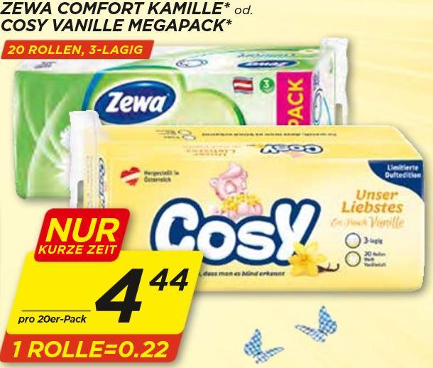 [Penny] Zewa Comfort Kamille oder Cosy Vanille Megapack 20 Rollen Toilettenpapier für 4,44 €