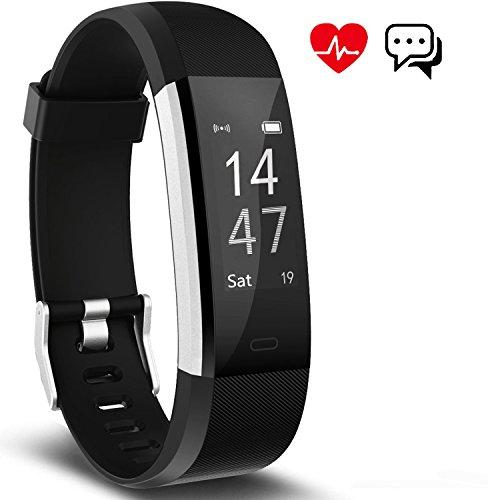 Fitness Armband mit Herzfrequenz, Schrittzähler Aktivitätstracker Pulsmesser mit 14 Trainingsmodi Schlafmonitor Wasserdicht Kalorienzähler Vibrationsalarm Anruf SMS Whatsapp