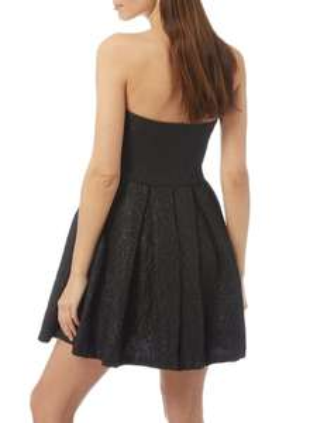REVIEW schwarzes Kleid mit floralem Jacquardmuster