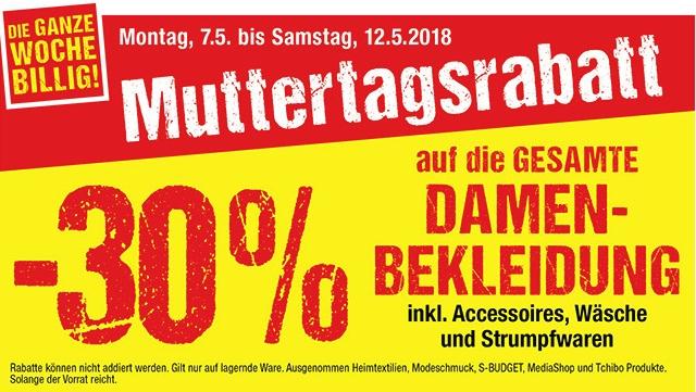 Maxi Markt Muttertagsrabatt: -30% auf Damenbekleidung