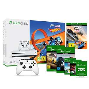 Xbox One S 1TB Konsole + Forza Horizon 3 + Hot Wheels DLC + Wireless Controller Weiß inkl. Steep, Forza Horizon 2 + Halo 5 und The Crew Download-codes + Xbox Live 3 Monats Mitgliedschaft