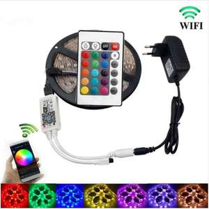 KWB WiFi Controller 5050 RGB LED Strip Light 60LED/m - 5 Meter + Wasserdicht + App Steuerung (+ Google Home / Alexa) für 12,72€