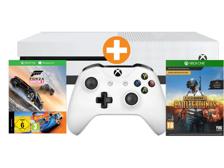 div. Xbox One S Bundles im Angebot  - u.a. mit: Xbox One S 500GB Konsole Forza Horizon + DLC Hot Wheels (Code) + Playerunknown's Battlegrounds für 185€