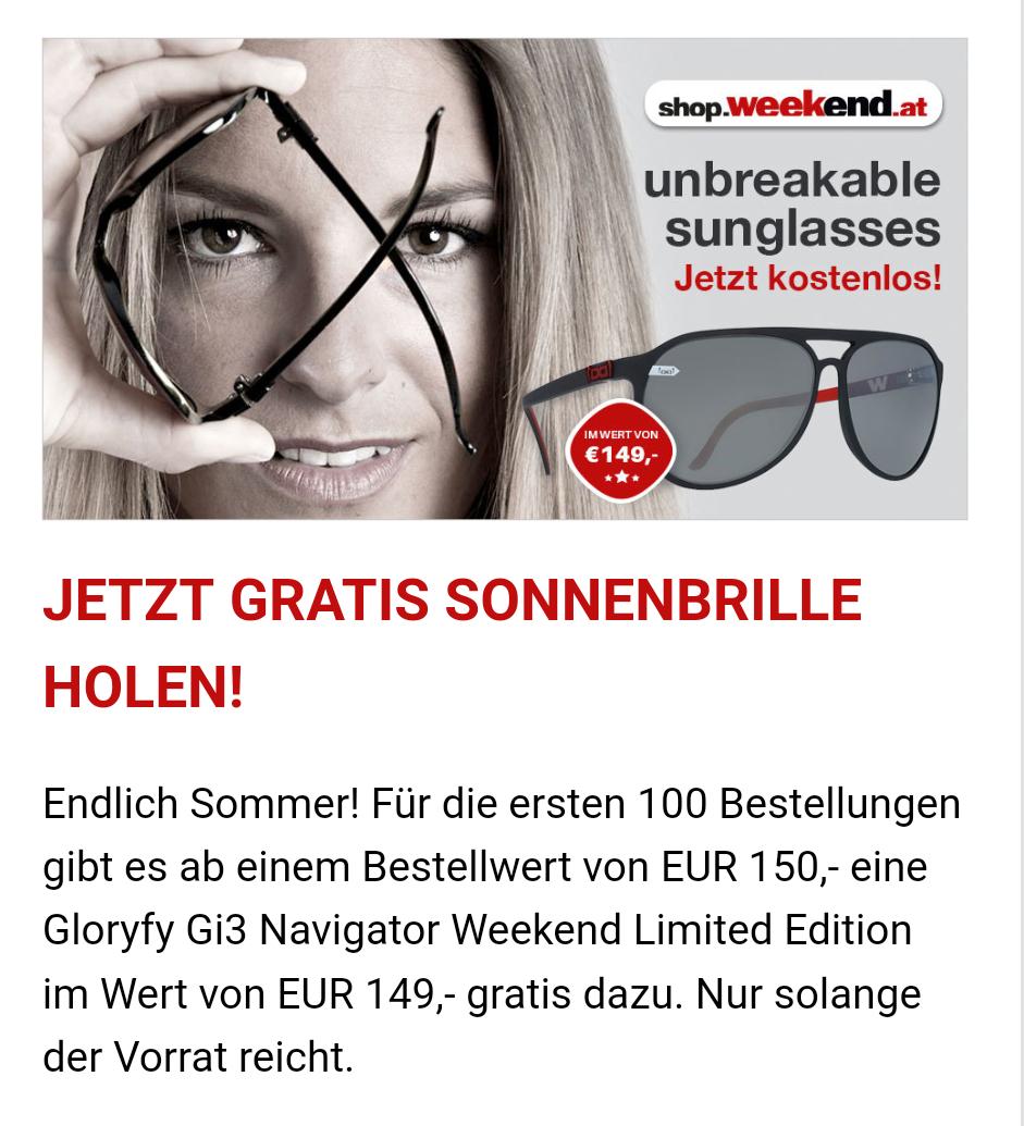 Gratis Gloryfy Sonnenbrille bei Einkauf ab 150€