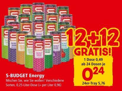 INTERSPAR S-Budget Energy Drink ab 24 Dosen von 17.5. bis 29.5.