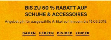 Bis zu 50% Rabatt auf Schuhe und Accessoires
