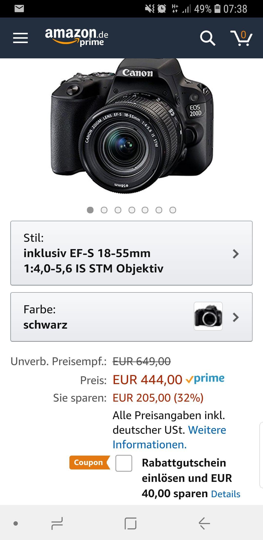 Canon EOS 200d KiT mit Objektiv