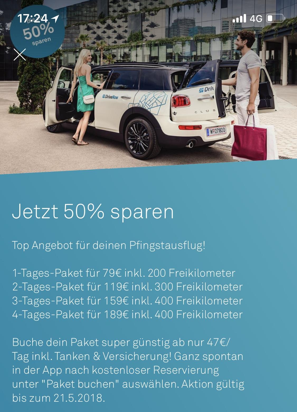 DriveNow: bis zu 50% auf Tages-Buchungen - bis 21.5.2018