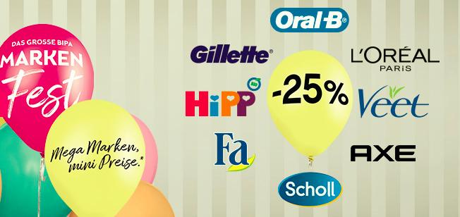 -25% auf viele Produkte - Markenfest bei Bipa