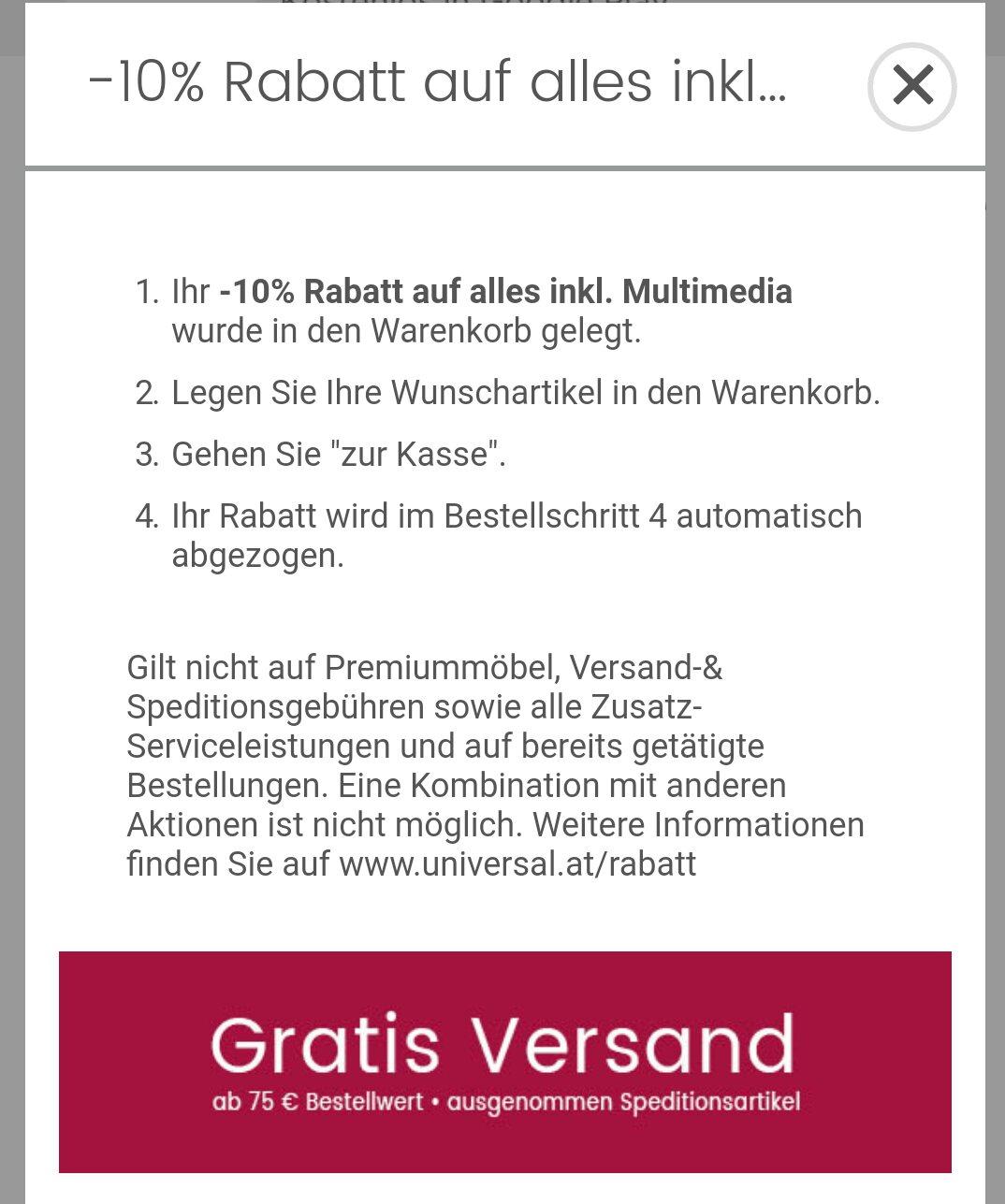 Universal -10% Rabatt auf alles inkl. Multimedia
