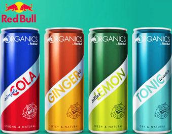 Gratis Red Bull Organics-Dosen im Wert von rund 5€