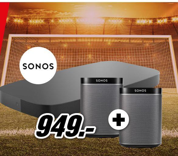 [Mediamarkt] Sonos Soundbar PLAYBASE Wireless für Heimkino und Musikstreaming, schwarz + 2 x Sonos PLAY1 WLAN-Speaker für Musikstreaming (Schwarz) um 795,78€