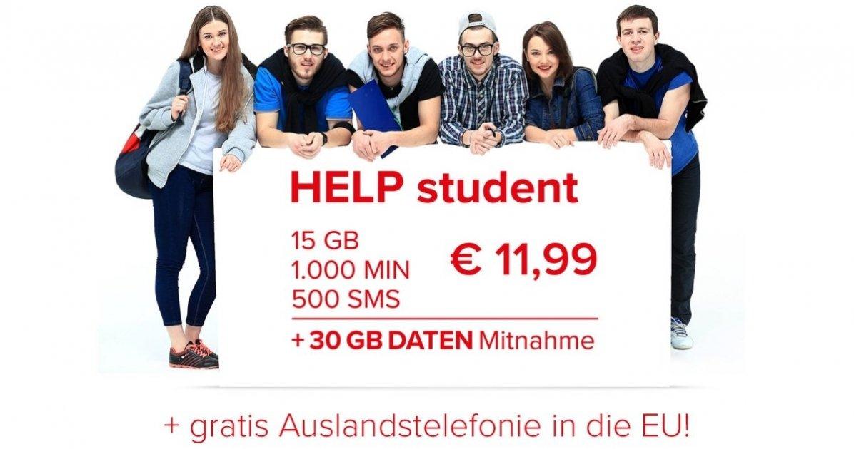 Help Mobile Student: 1000 Min (inkl in die EU) + 500 SMS + 15GB (+30GB Mitnahme)