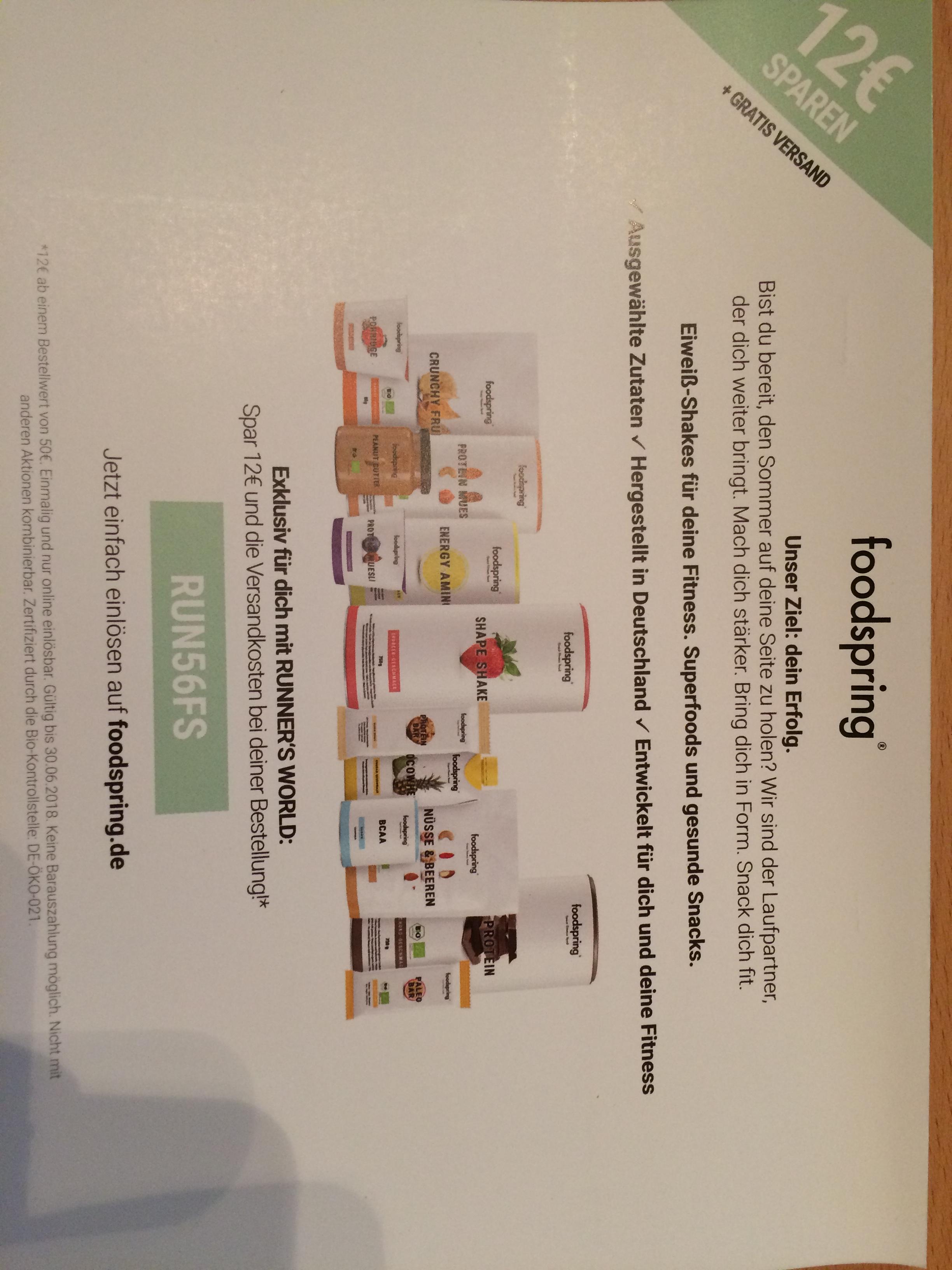 foodspring 12 € und kostenloser versand