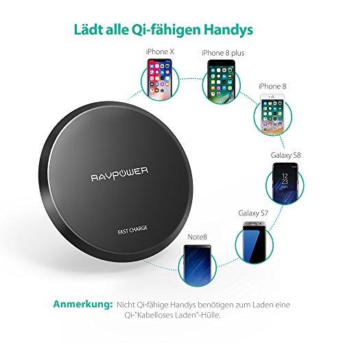 Wireless Charger RAVPower 10W Qi kabelloses Schnellladegerät für S9, S8, Note 8, iPhone X, iPhone 8 und andere Qi-fähige Geräte
