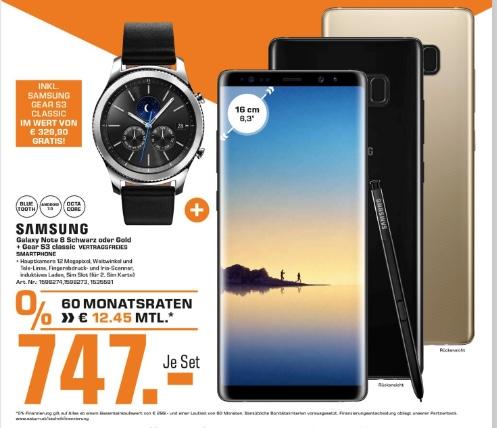 Saturn Wien Millennium City: Samsung Galaxy Note 8 Duos N950FD Smartphone + Samsung Gear S3 Classic Smartwatch für 747€