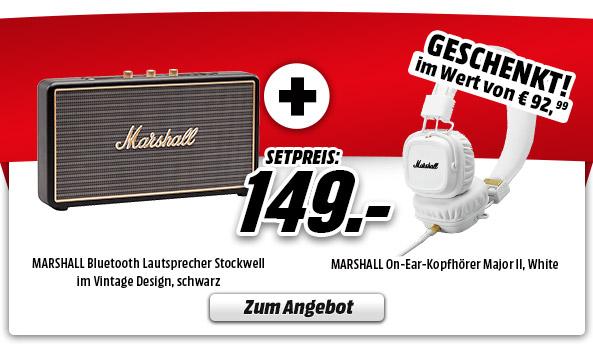 Media Markt: Marshall Stockwell - tragbarer Bluetooth Lautsprecher + Marshall Major II White On-Ear Kopfhörer für 149€