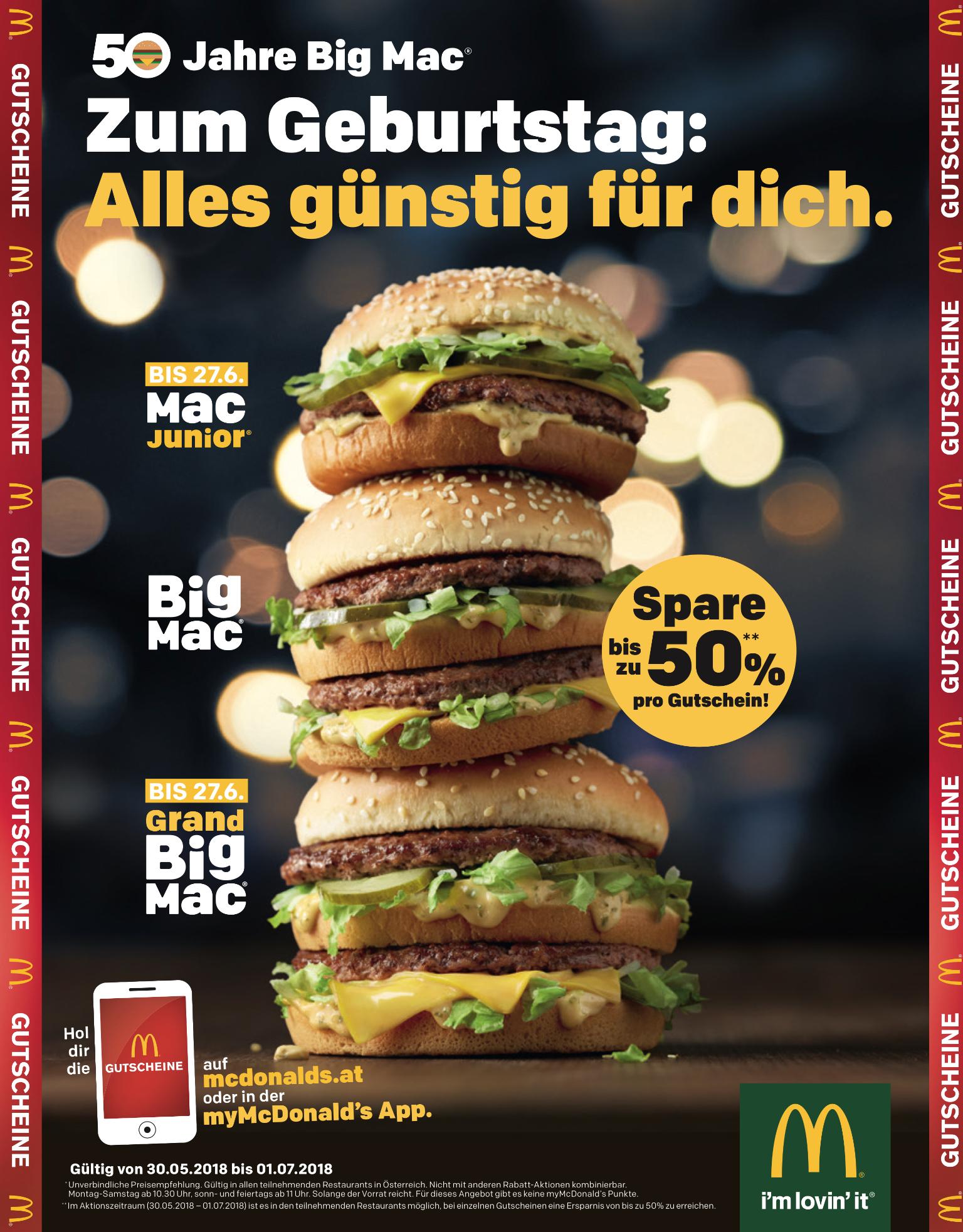 McDonalds Gutscheine - bis 1.7.2018