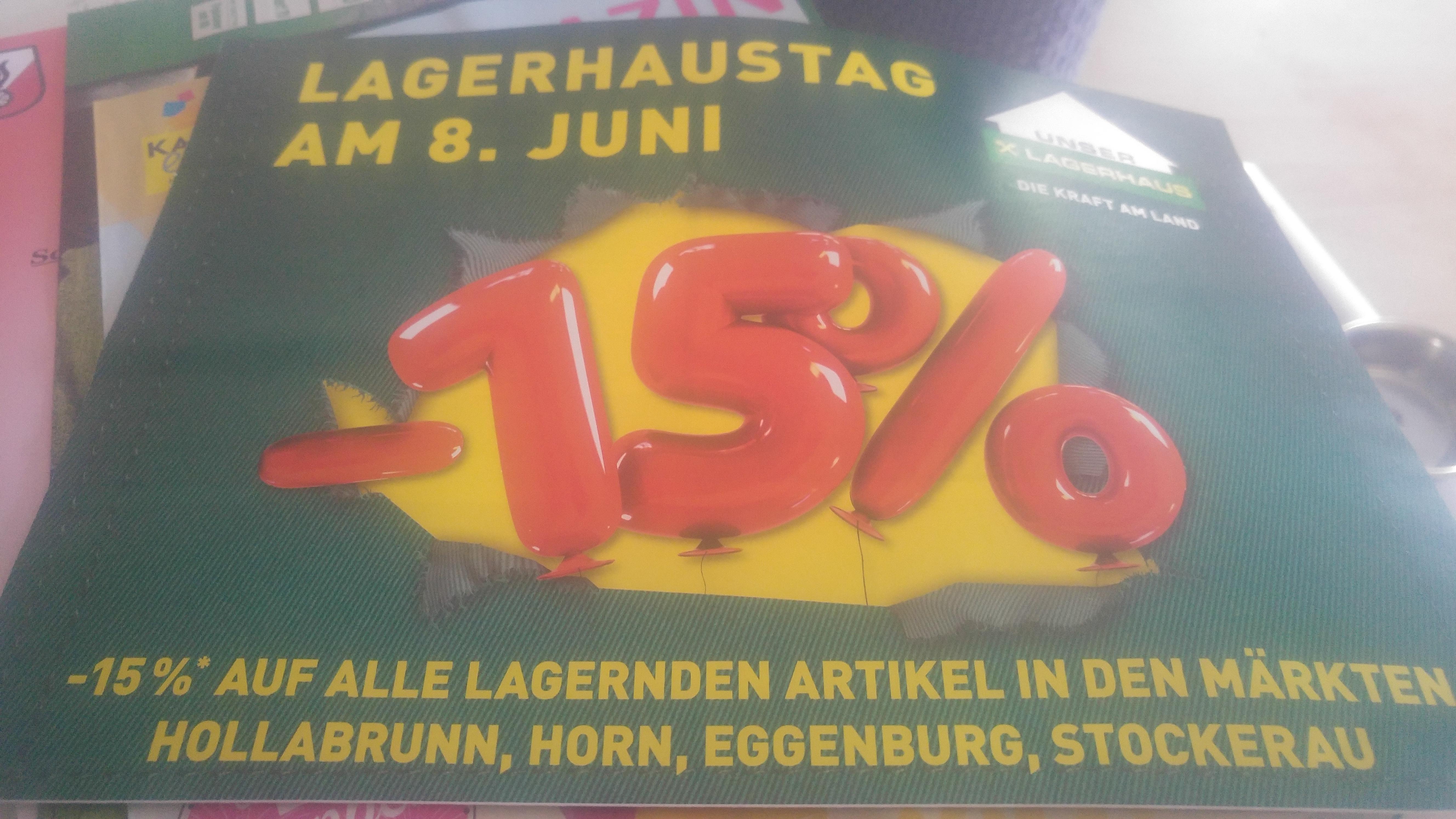 [Lagerhaus - 8.6.2018] 15% Rabatt auf alle lagernden Artikel in Hollabrunn, Horn, Eggenburg und Stockerau