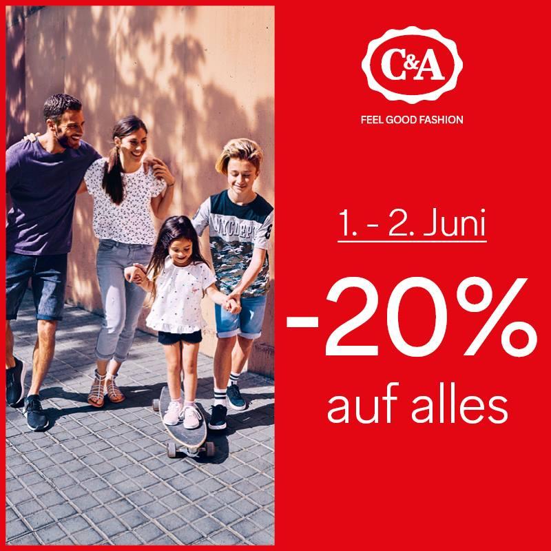C&A: -20% auf alles am 1.+ 2.Juni 2018