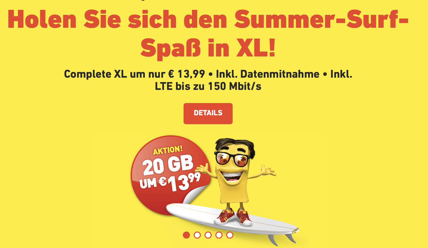 Yesss! Complete XL - 20 Gb - 1500 Min/SMS - EU Roaming - Datenmitnahme bis 60 Gb für heiße € 13,99