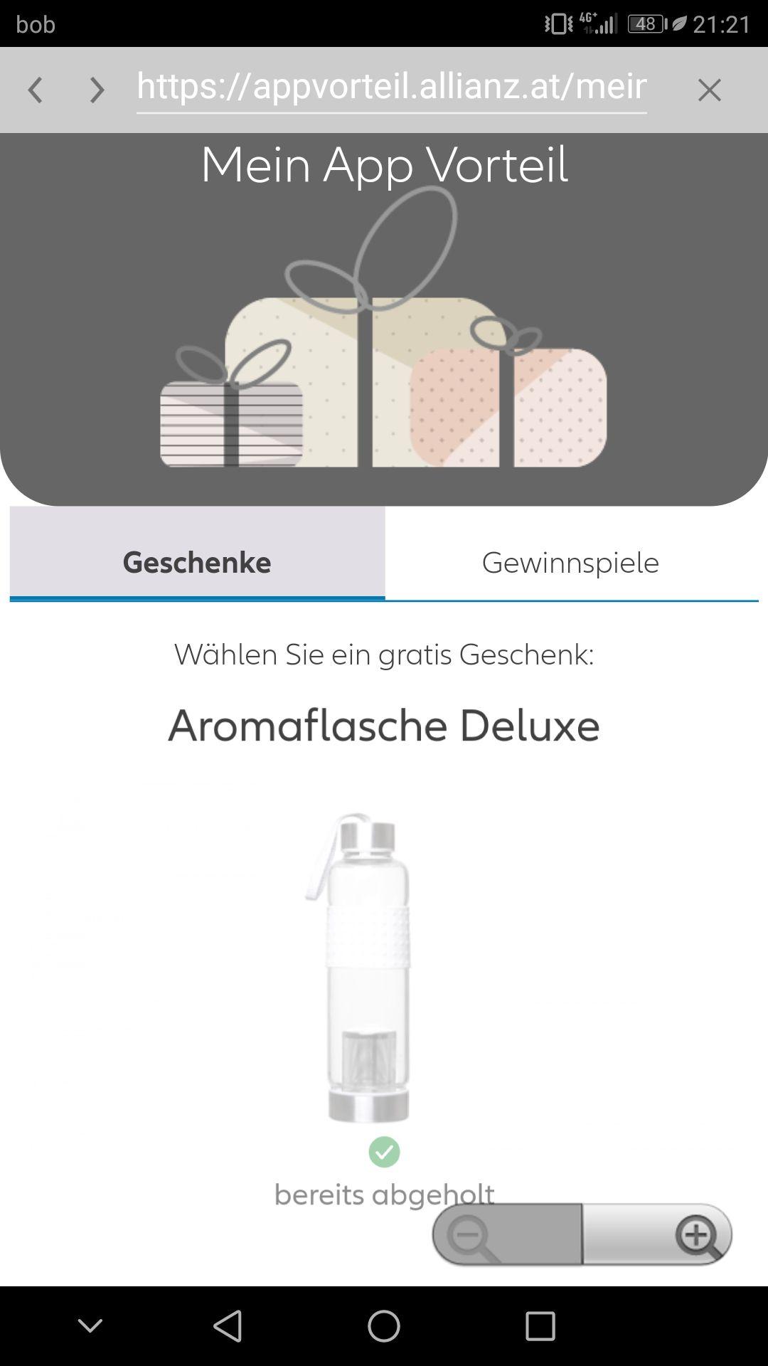 Gratis Trinkflasche bestellen - Allianz App / für best.Kunden