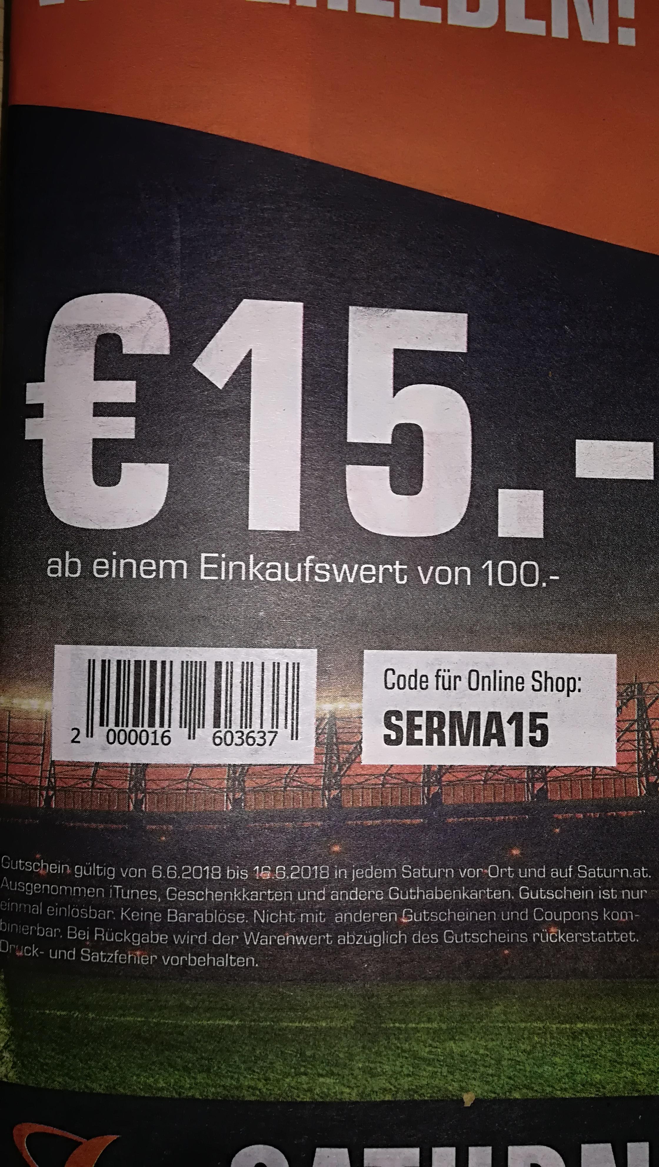 15 Euro Saturngutschein