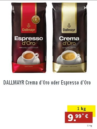 LIDL: Dallmayr Crema Espresso d'Oro & Crema d'Oro (normal und intensa)