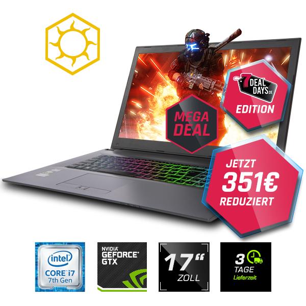"Gaming Guru Sun K GTX1060 (17,3"" Zoll, i7-7700HQ, 8GB RAM, GTX 1060 6GB, 256GB m.2 SATA SSD)"