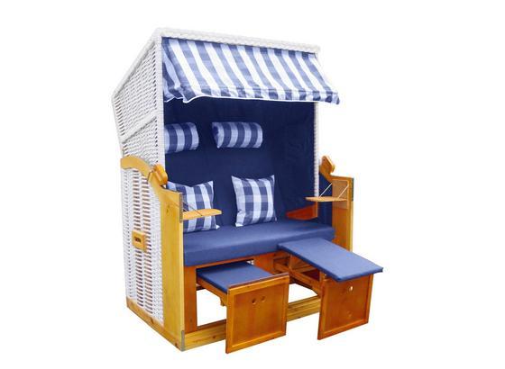 Strandkorb Paloma  Weiß/Blau / Hartholz/PE Rattan/Textil  Belastbarkeit ca.150 Kg / B/H/T: ca 119/165/79 cm  3 Bezüge