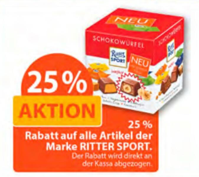 [Müller] -25% auf alle Artikel der Marke Ritter Sport (13.06. - 19.06.)