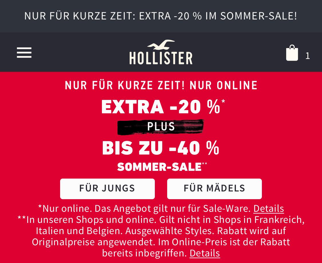 Hollister: 20% extra Rabatt beim Summer-Sale