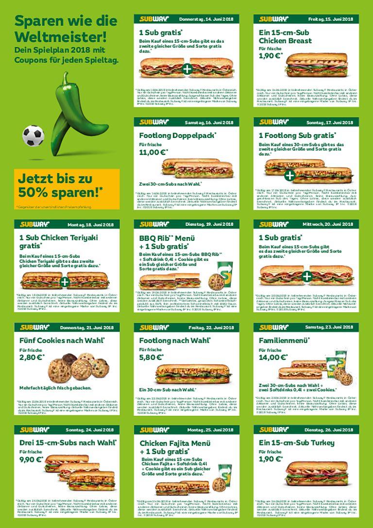 Subway WM Gutscheine - täglich ein neues Angebot mit bis zu 50% Rabatt - u.a. mit 1+1 15cm Sub Gratis