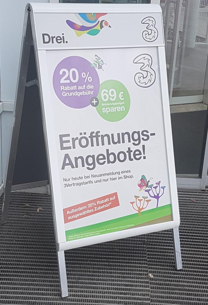 """Drei """"3"""" -20% auf die Grundgebühr und Aktivierungsentgelt sparen (nur im Drei Shop Brünnerstraße 52)"""