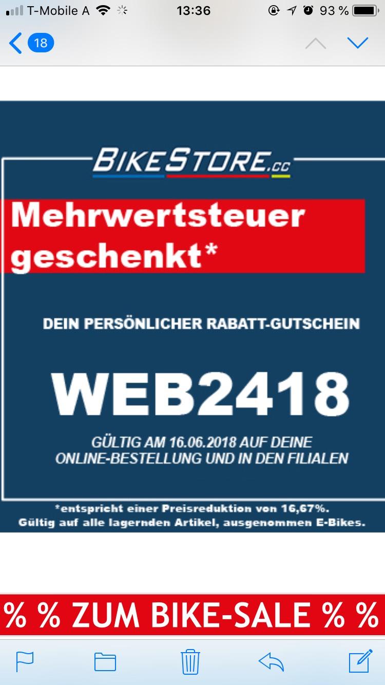 Mehrwertsteuer geschenkt - Steuerfrei einkaufen bei bikestore.cc