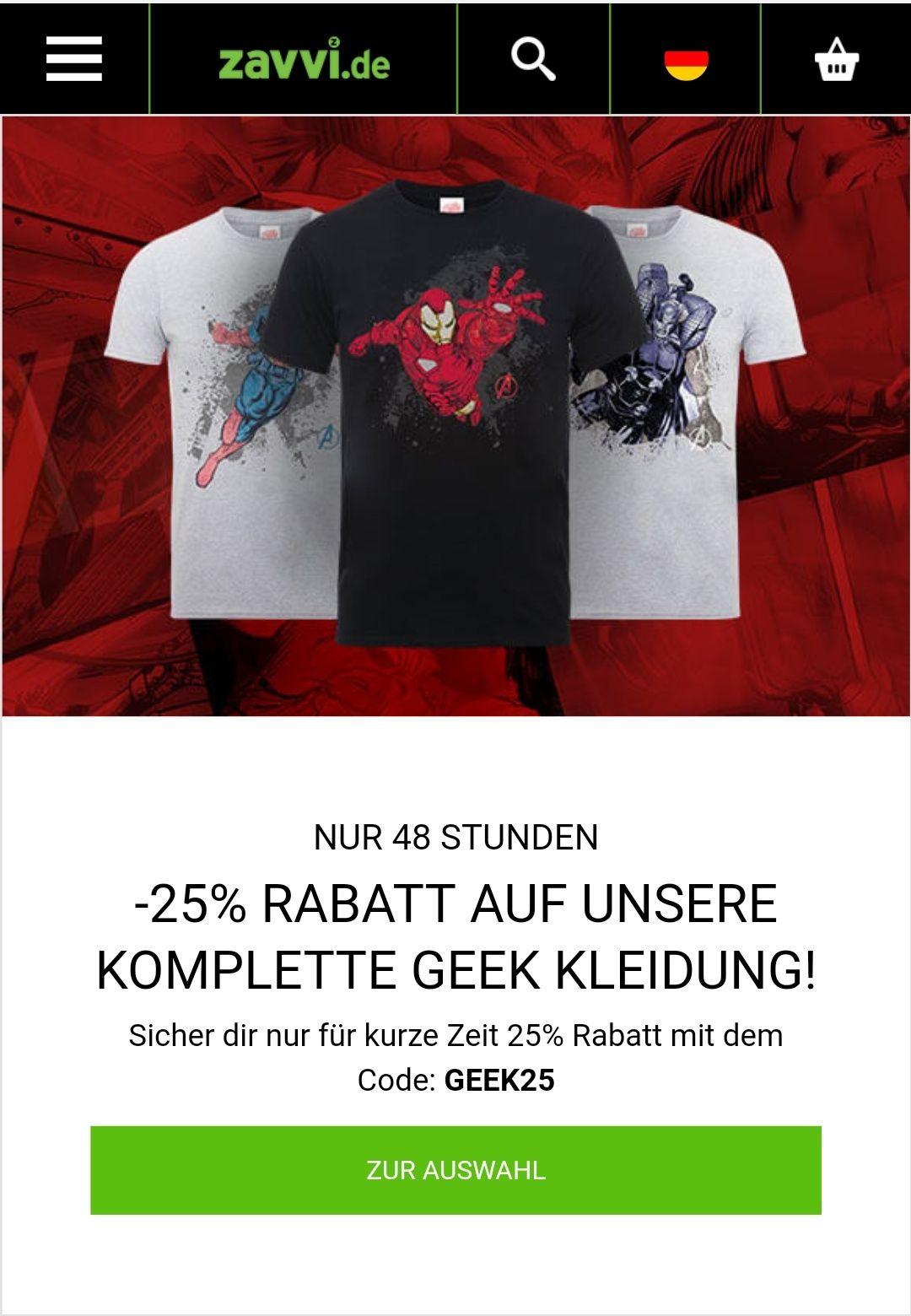 |- 25%|  auf die komplette Geek Kleidung bei Zavvi.de