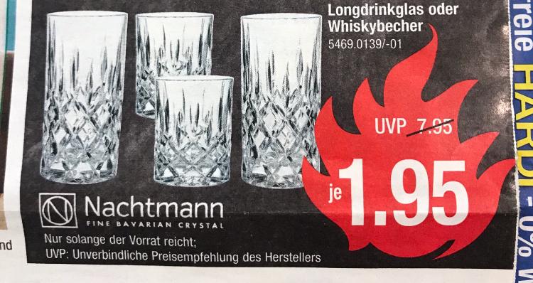 """[HARDECK] Nachtmann """"Noblesse"""" Gläser für nur 1,95€; Whisky und Longdrink, einzeln erhältlich"""