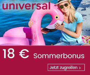 18€ Rabatt +6,7% Cashback ab 75€ MBW bei Universal über 3Shoppingwelt.at