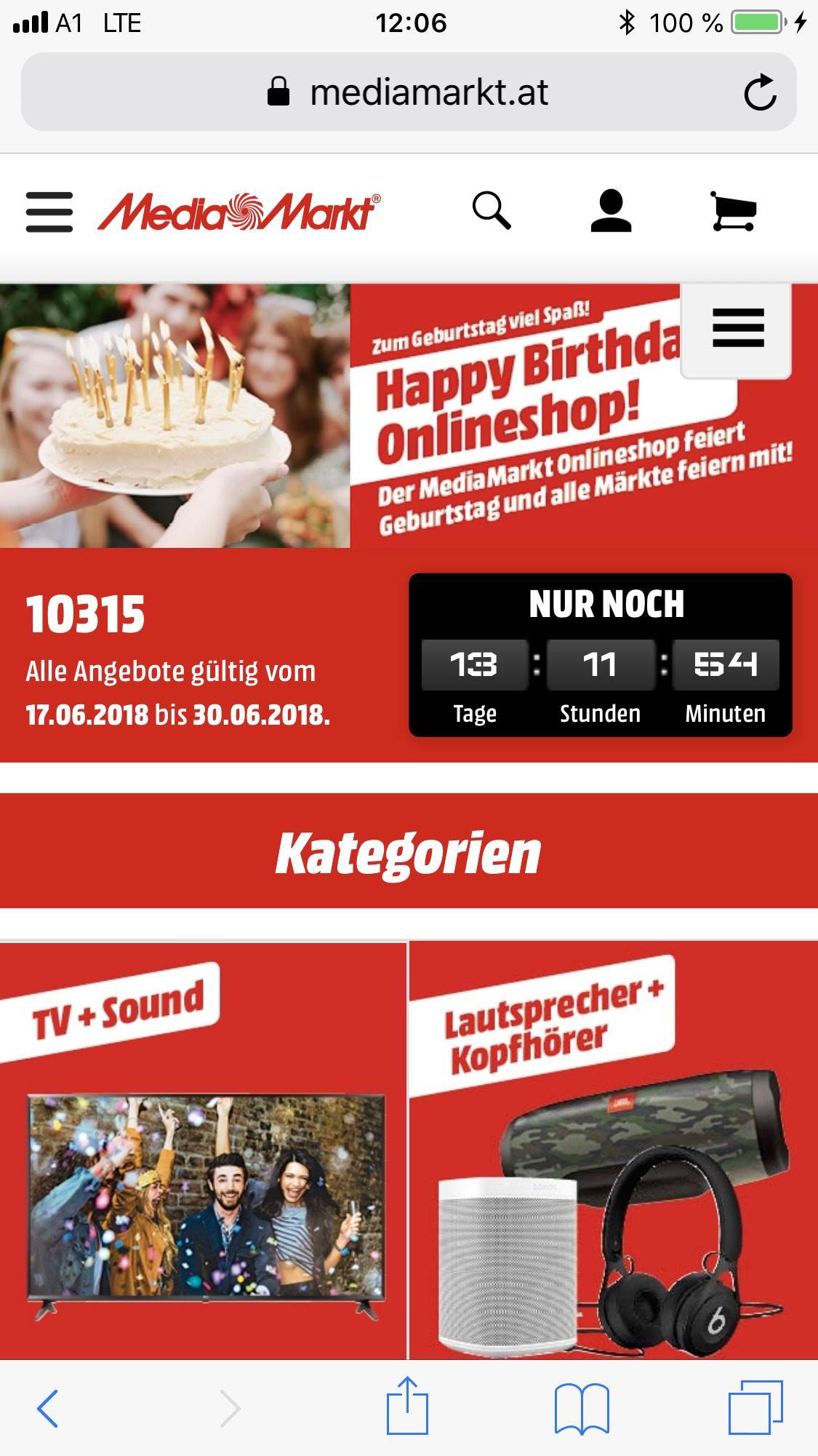 Media Markt Happy Birthday, Onlineshop