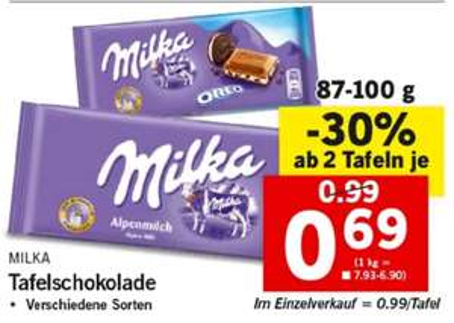 [Lidl] Milka Schokolade ab 2 Tafeln um 0,69€ (21.06.-23.06.)